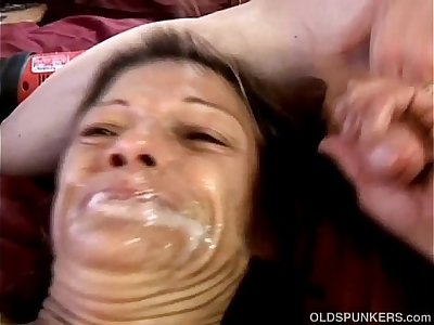 Kinky old spunker loves huge toys & sticky facial cumshots