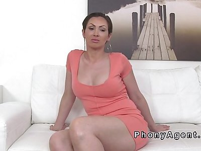 Busty amateur sucks and fucks in panties in audition