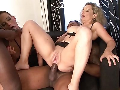 2 Milfs Take turns DP Fucked By Black Cocks Get Facial cumshots Interracial