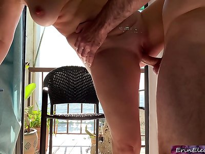 Stepmom on vacation by the ocean fucks stepson